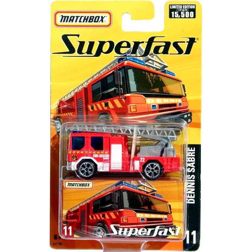 Matchbox 2005 Superfast caminhão de Bombeiros Dennis Sabre #11 H7735 1/64