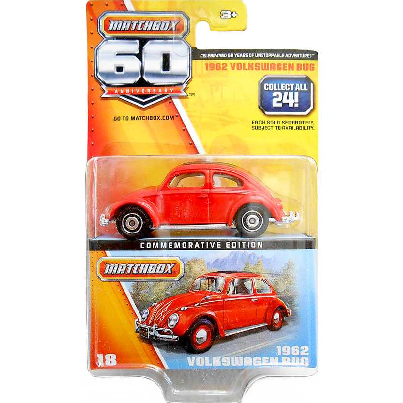 Matchbox 60 Anniversary 1962 VW Fusca - Volkswagen Bug Y5340 18/24 escala 1/64