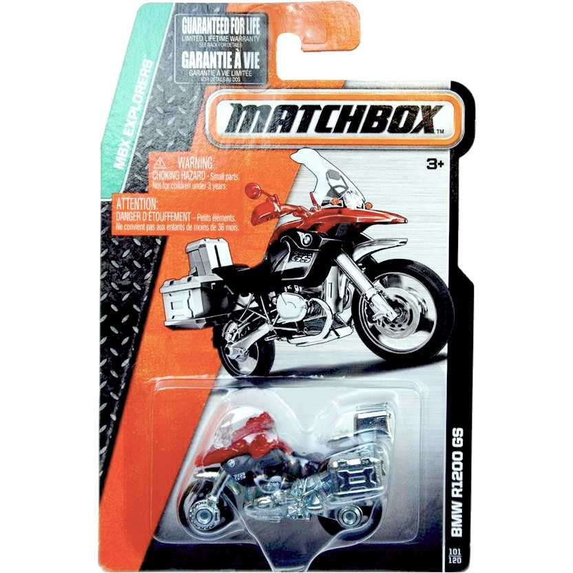 Matchbox BMW R1200 GS vermelha escala 1/64 MBX Explorers CFW85-0810