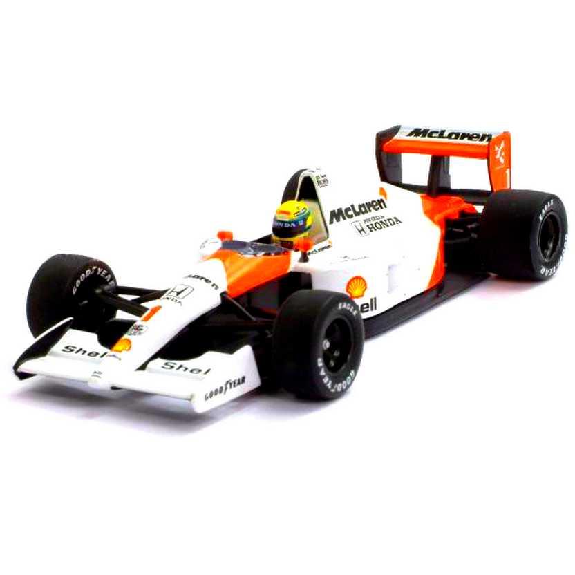McLaren MP4/6 Ayrton Senna (1991) Tricampeão marca Minichamps escala 1/43