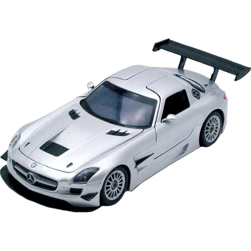 Mercedes Benz SLS AMG GT3 prata marca MotorMax escala 1/24