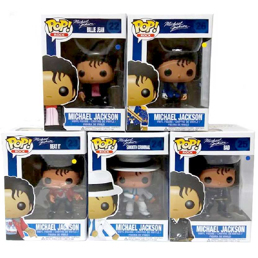 Michael Jackson Funko Pop coleção completa (Criminal Smooth+Military+BAD+BEAT IT+Billie Jean)