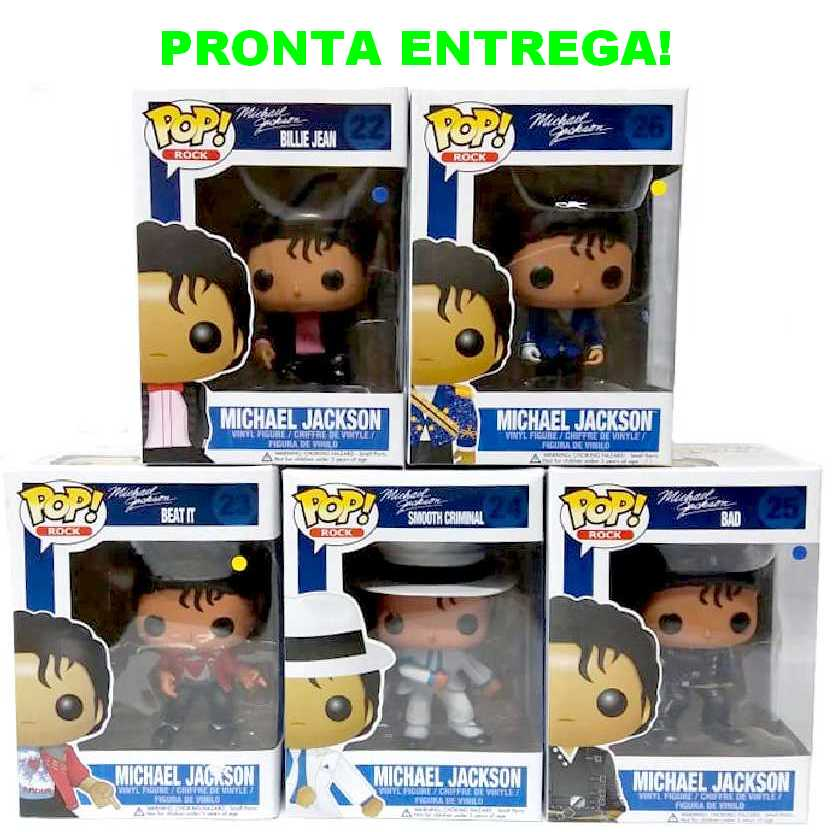 Michael Jackson Funko Pop coleção (Smooth Criminal +Military+BAD+BEAT IT +Billie Jean)