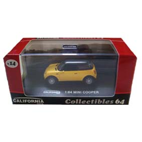 Mini Cooper com caixa de acrílico (escala 1/64)