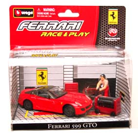 Miniatura Burago Ferrari Race and Play / Ferrari 599 GTO Diorama escala 1/43