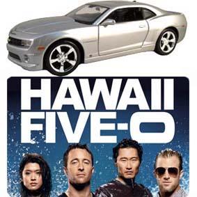 Miniatura Chevrolet Camaro Hawaii Five O (prata) com teto solar e Placa Hawaii 5-0