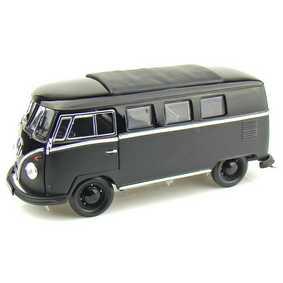 Miniatura da VW Kombi Greenlight metal escala 1/18 Microbus Black Bandit