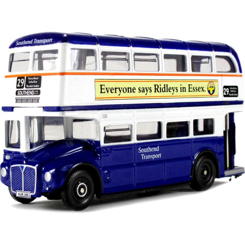 Miniatura de ônibus inglês 2 andares (Routemaster Southend Transport) Oxford escala 1/76