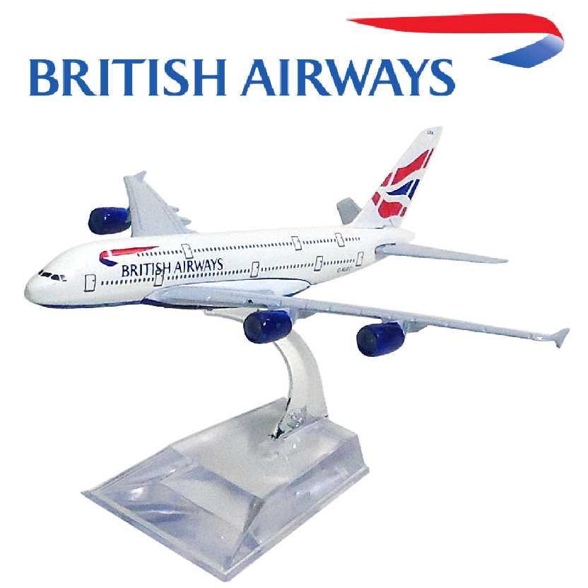 Miniatura de Avião Comercial Airbus A380 da British Airways Aviões Comerciais