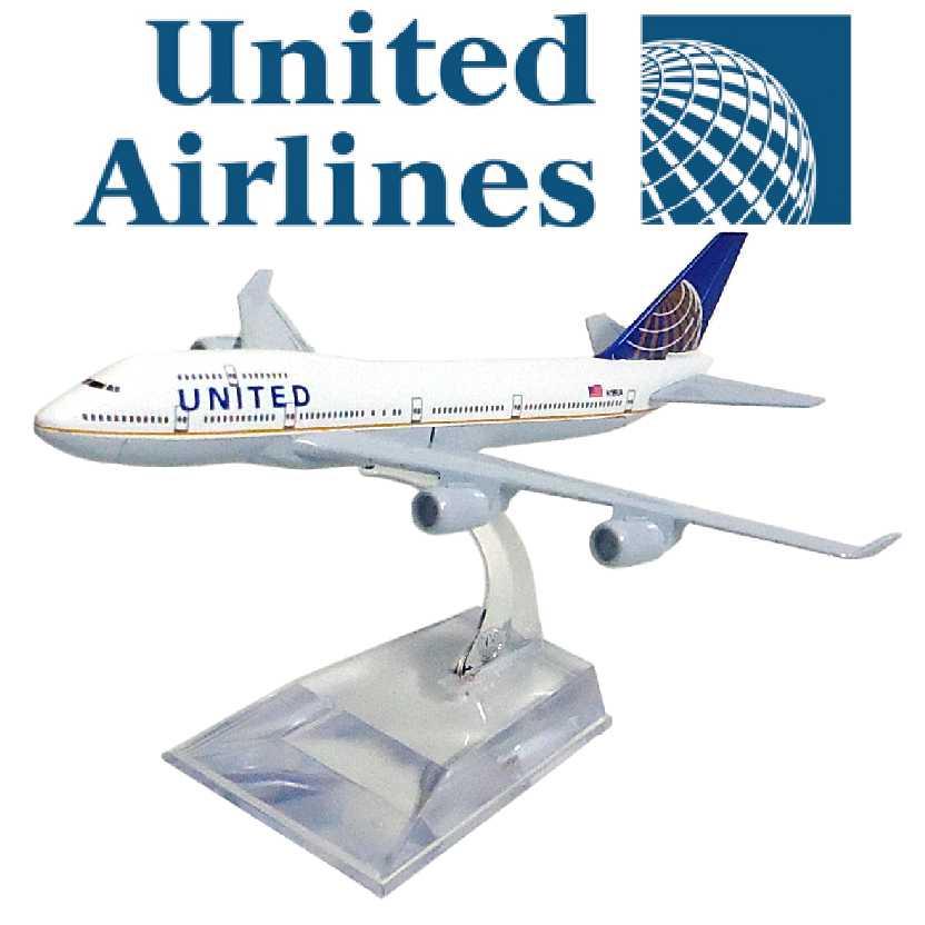 Miniatura de avião comercial Boeing 747 da United airlines company