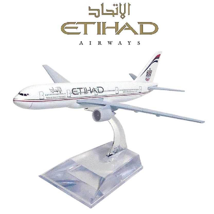 Miniatura de avião comercial Boeing 777 da Etihad airline company