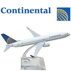 Miniatura de Avião Comercial em metal Boeing 737 Continental Airlines Brasil