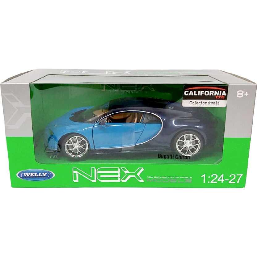 Miniatura do Bugatti Chiron azul marca Welly escala 1/24 24077W