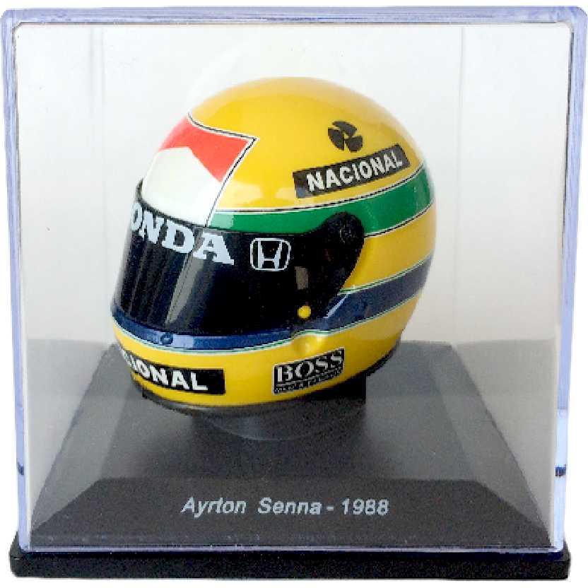 Miniatura do Capacete Bell XFM1 (1988) Ayrton Senna escala 1/5 marca Spark editions
