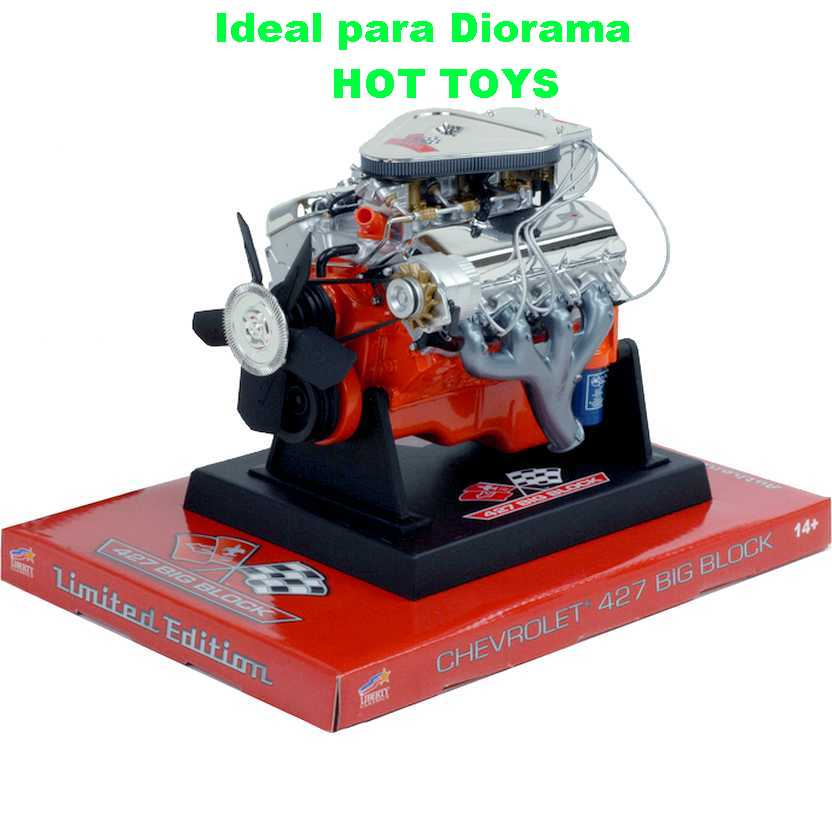 Miniatura do motor V8 Chevrolet L89 427 Big Block Liberty escala 1/6 ideal p/ Hot-Toys