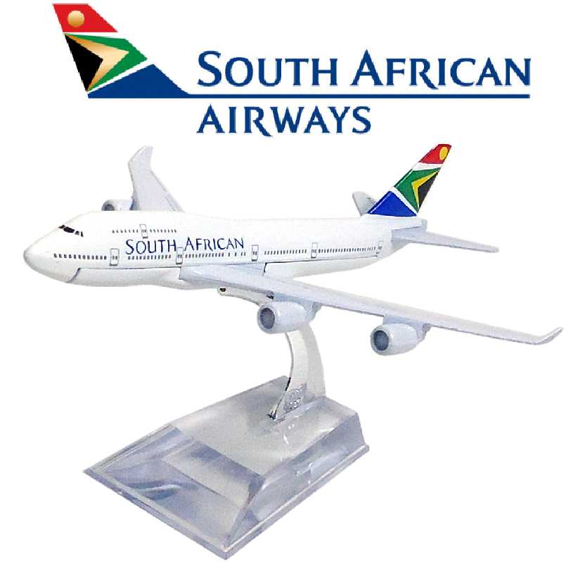 Miniatura em metal do Boeing 747 da South African Airways airline company