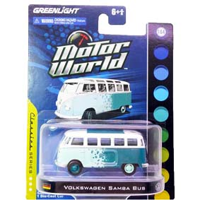 Miniatura escala 1/64 da Greenlight VW Samba Bus Kombi Motor World R3 96030