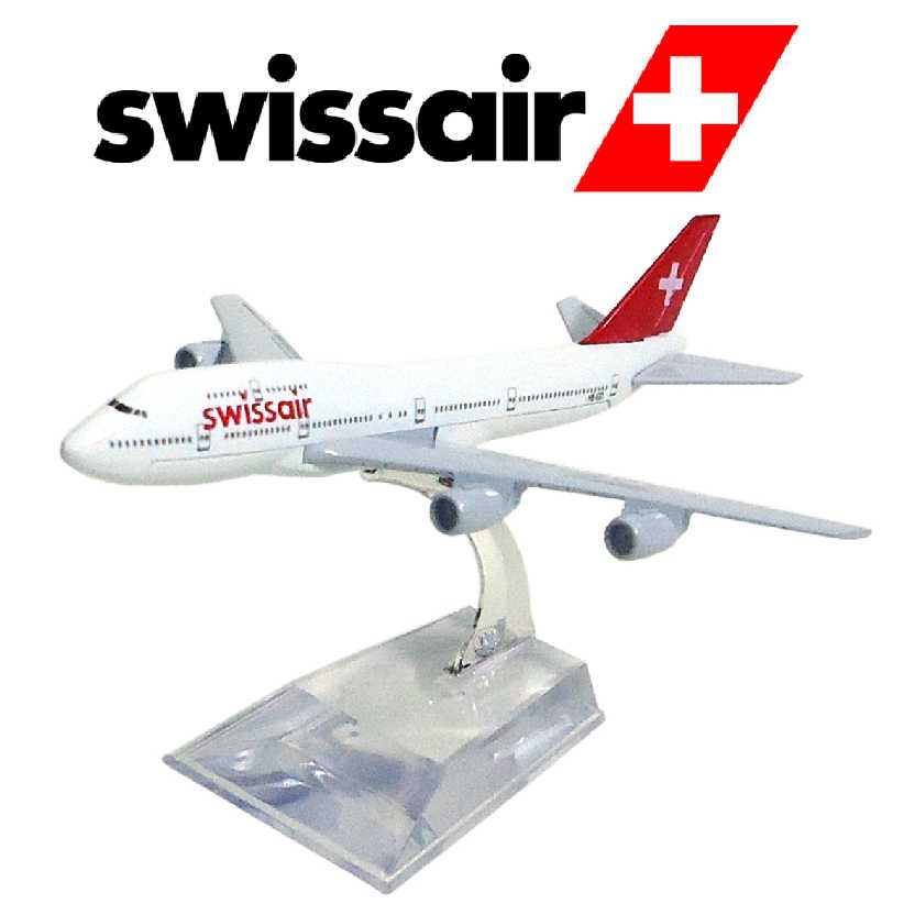 Miniaturas Aviões Comerciais de metal Boeing 747 Swiss Airlines