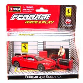 Miniaturas Burago Ferrari Race and Play / Ferrari 430 Scuderia Diorama escala 1/43