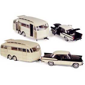 Miniaturas Carros Antigos Simca Chambord com Trailer Caravan Henon (1955)