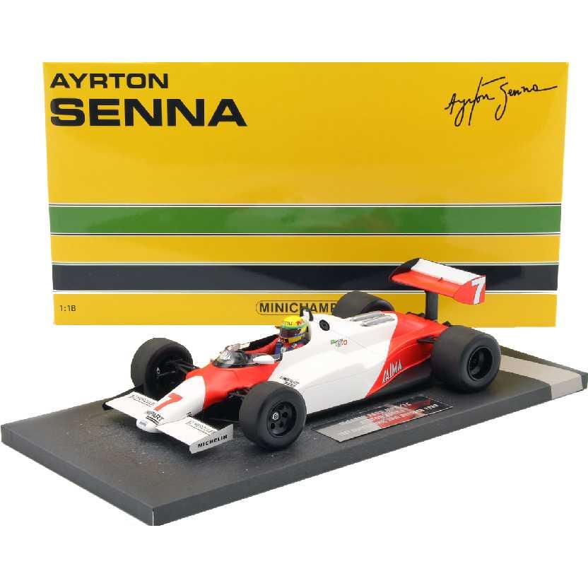 Minichamps Ayrton Senna (1983) McLaren Ford MP4/1C escala 1/18 Silverstone Limited Ed. 500