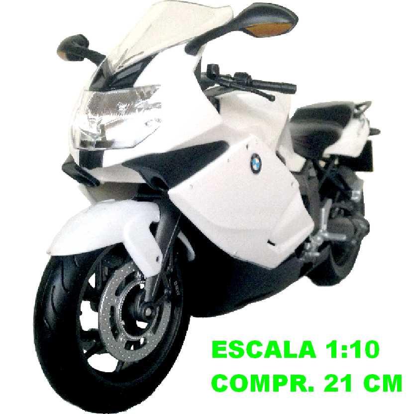 Moto BMW K1300S branco perolizado marca Welly escala 1/10 (grande)