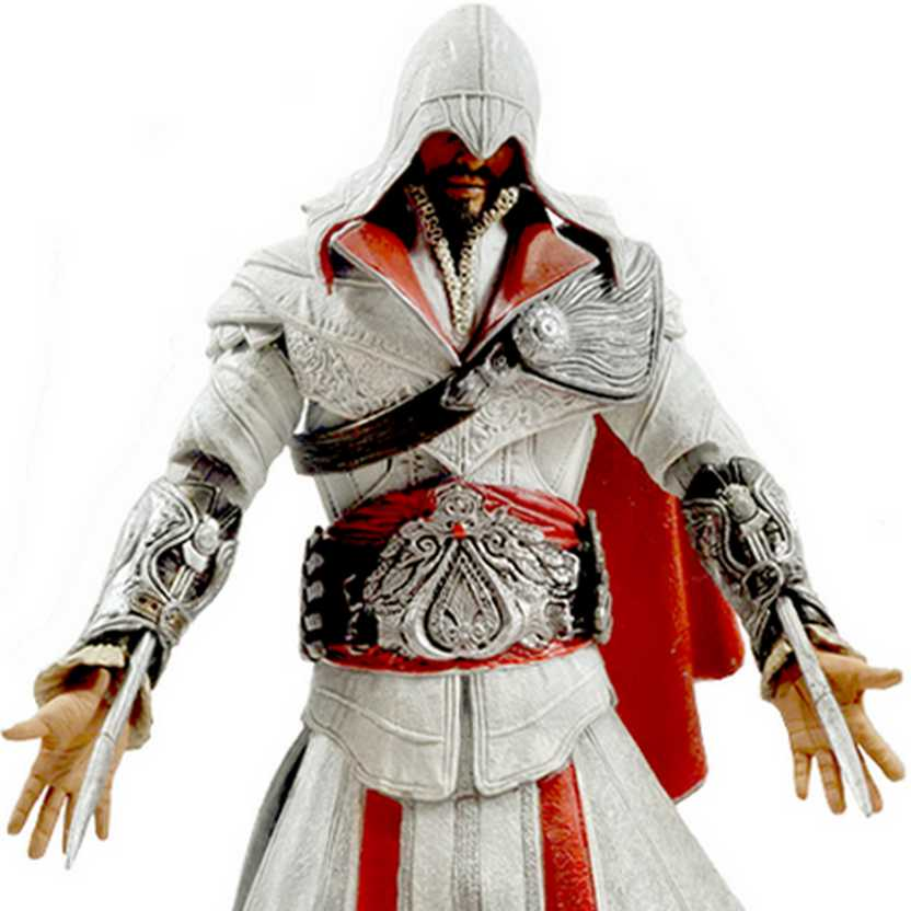 NECA Assassins Creed Brotherhood Ezio Figure - Ivory Hooded (aberto)