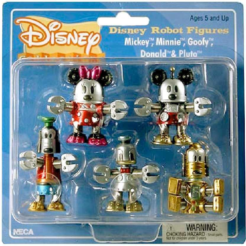 Neca Disney Robots Blister (Mickey, Minnie, Pateta, Pluto e Donald)