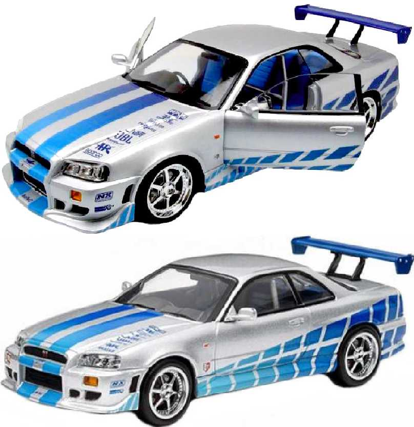 Nissan Skyline GT-R (R34) 1999 carro do Brian + Velozes + Furiosos Greenlight escala 1/18