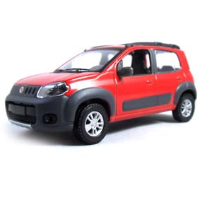Novo Fiat Uno Way 1.4 2012 cor vermelha marca Norev escala 1/43