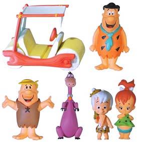 Os Flintstones personagens Fred, Barney, Dino, Bam-Bam, Pedrita e carro The Flintmobile