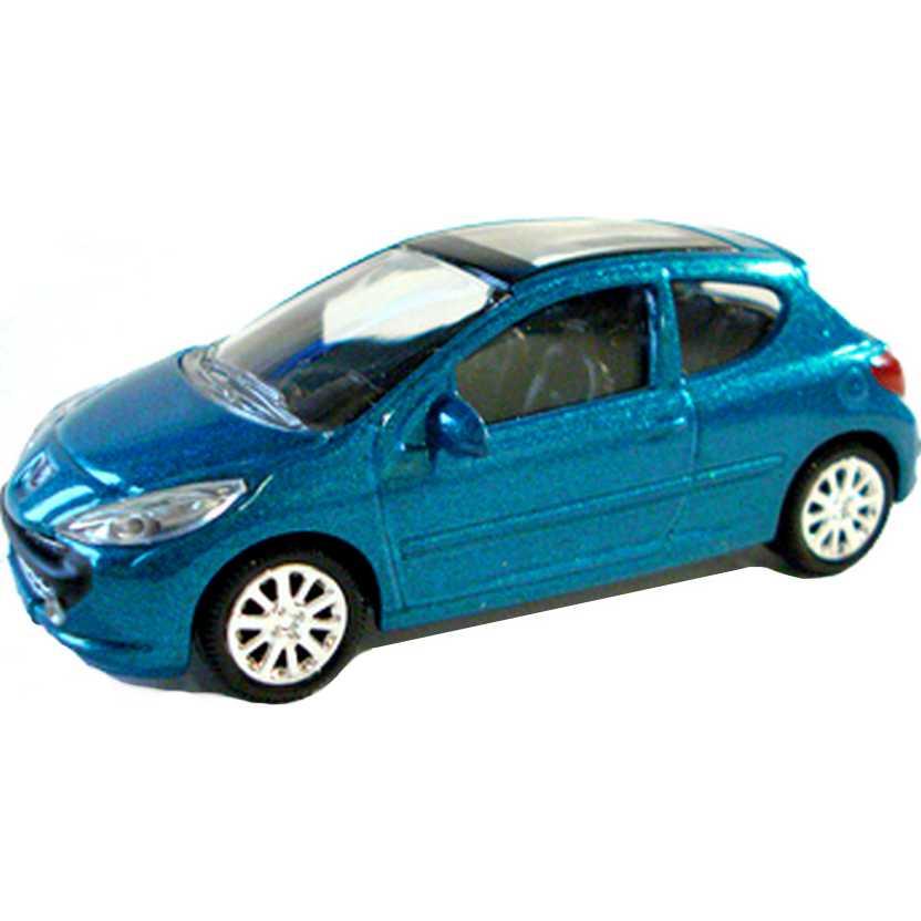 Peugeot 207 azul metálico com retrovisores marca Norev escala 1/64