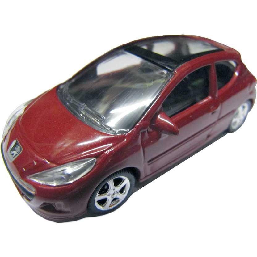 Peugeot 207 vermelho metálico com retrovisores marca Norev escala 1/64