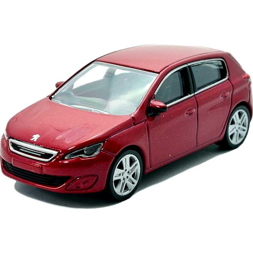 Peugeot 308 4 portas vermelho metálico com retrovisores marca Norev escala 1/64
