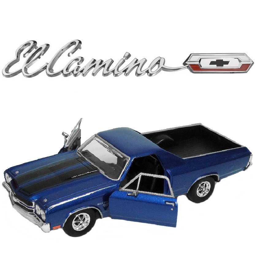 Pickup Chevrolet El Camino cor azul (1970) marca Motormax escala 1/24
