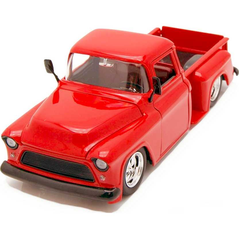 Pickup Chevrolet Marta Rocha (1955) Chevy Stepside Pick up cor vermelha Jada escala 1/24