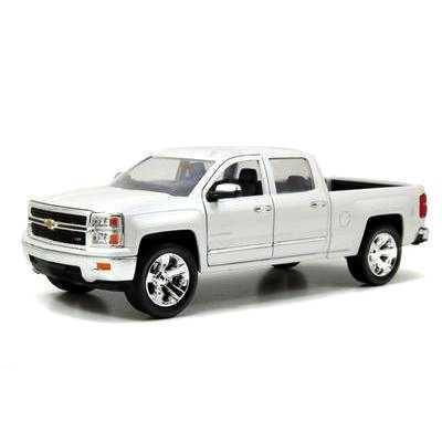 Pickup Chevrolet Silverado branca (2014) cabine dupla marca Jada Toys escala 1/24