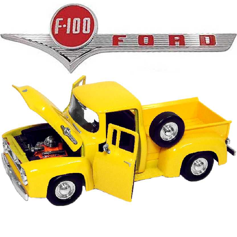 Pickup Ford F100 cor amarela (1955) marca Motormax escala 1/24