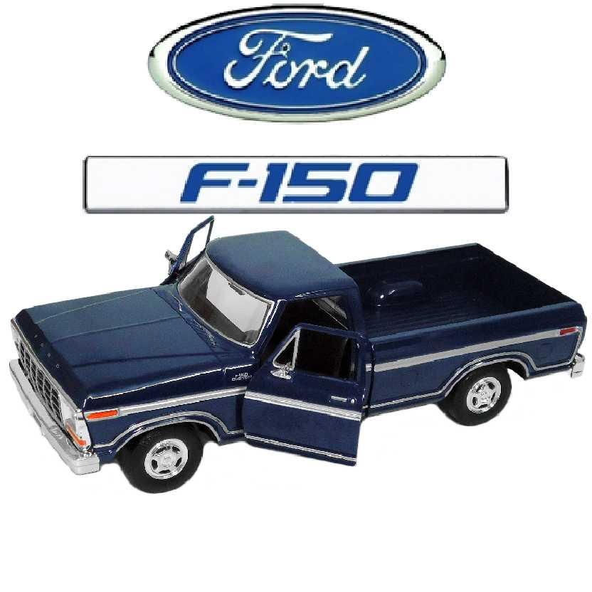 Pickup Ford F150 cor azul (1979) marca Motormax escala 1/24