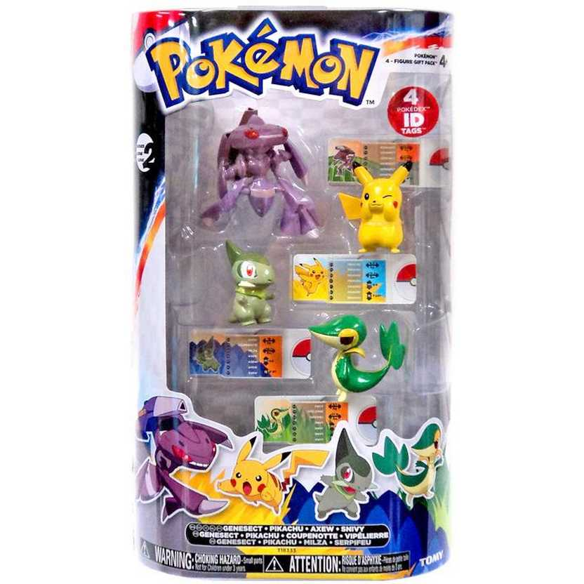 Pokémon XY Tomy Figure (Genesect, Pikachu, Axew e Snivy) 4 Figure Gift Pack