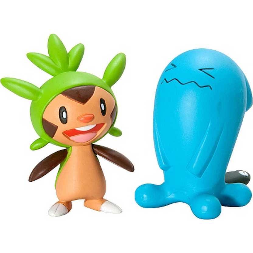 Pokemon 2 Pack Tomy Figure Chespin vs. Wobbuffet (aberto)