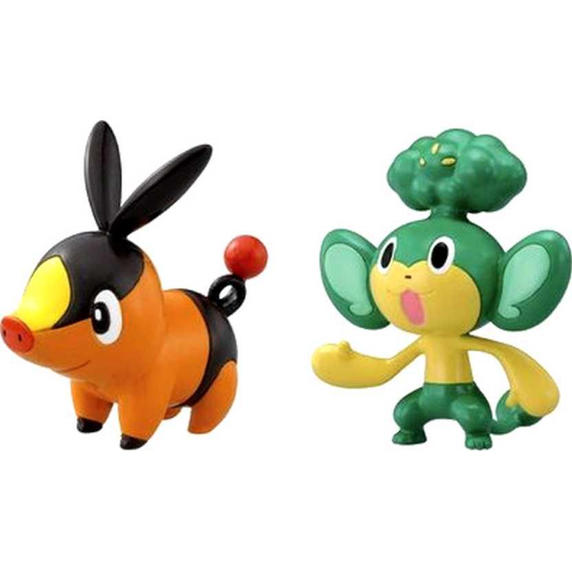 Pokemon 2 Pack Tomy Figure Tepig vs Pansage (aberto)
