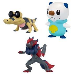 Pokemon Bonecos Jakks :: Boneco Zoroark, Sandile e Oshawott (aberto)