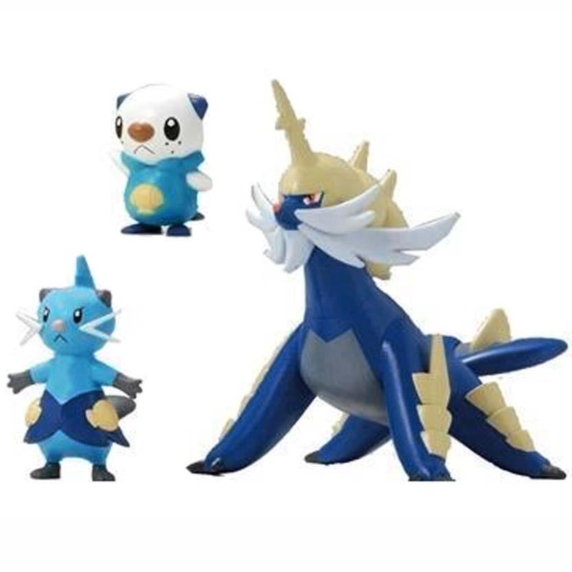 Pokemon Evolution 3 Pack Oshawott / Dew / Samurott Tomy figure (aberto)
