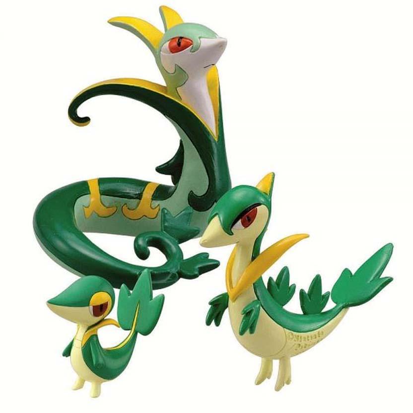 Pokemon Evolution 3 Pack Snivy / Servine / Serperior Tomy figure (aberto)