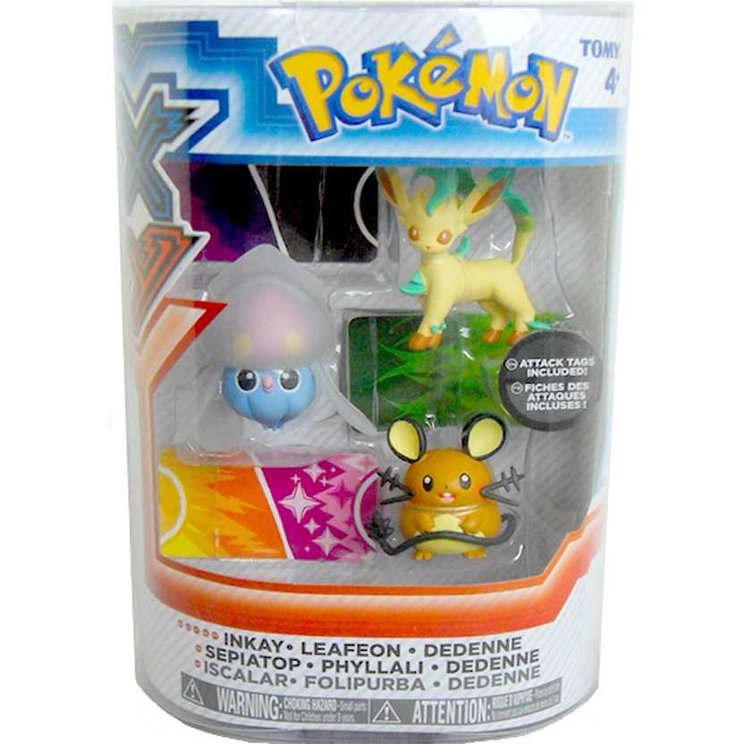 Pokemon XY Inkay, Leafeon e Dedenne (3 pack Tomy figure)