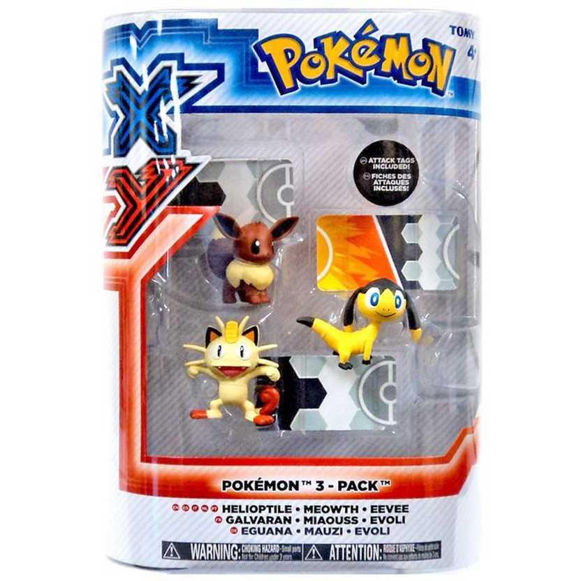Pokemon XY Tomy - Helioptile, Meowth e Eevee (3 pack figure)