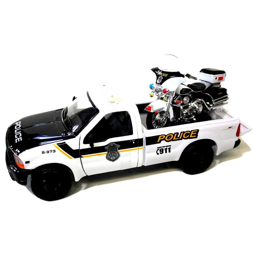 Police Harley-Davidson 2004 FLHTP Electra Glide 1/24 + Pickup Ford F-350 (1999) escala 1/27