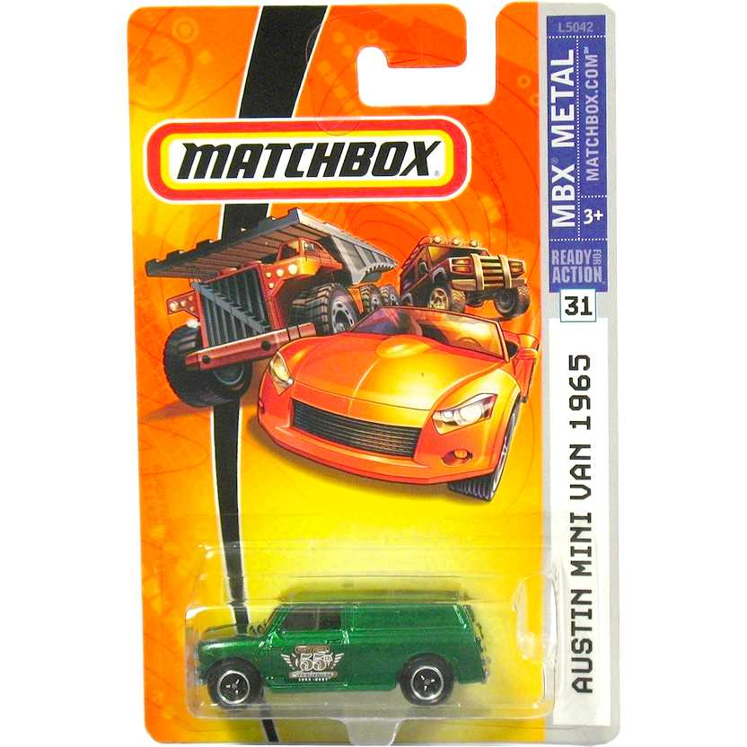 Poster 2007 Matchbox 55 anos - Austin Mini Van 1965 verde L5042 series 31 escala 1/64