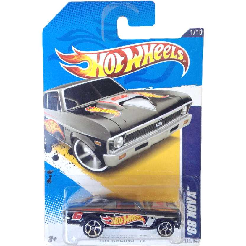 Poster 2012 Hot Wheels 68 Nova preto series 1/10 171/247 V5576 escala 1/64
